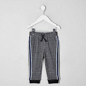 Mini - Grijze geruite broek met biezen voor jongens
