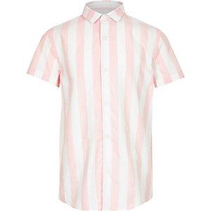 Roze gestreept poplin overhemd voor jongens