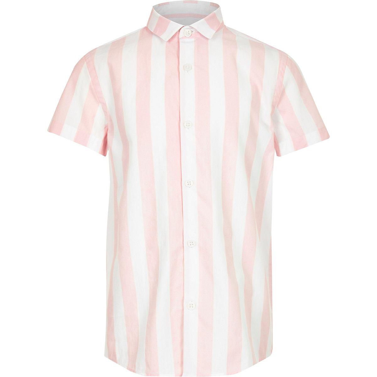 Boys pink stripe poplin stripe shirt