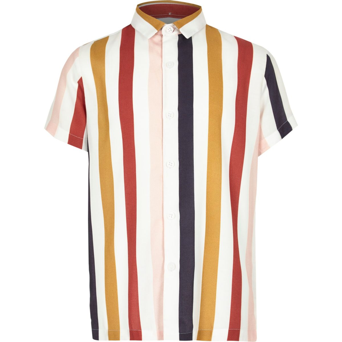 Boys white verticle multi stripe collar shirt