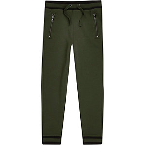 Boys khaki green tipped hem joggers