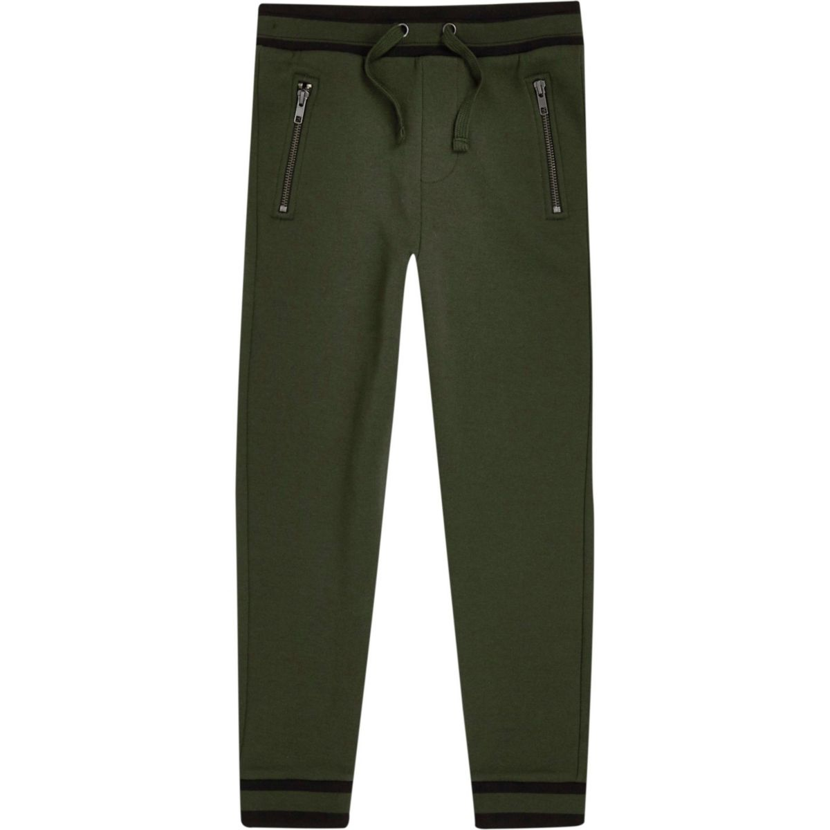 Boys khaki green tipped hem joggers