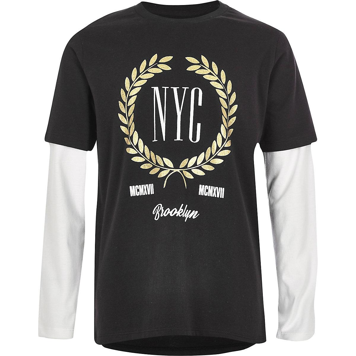 Boys black 'NYC' double sleeve T-shirt