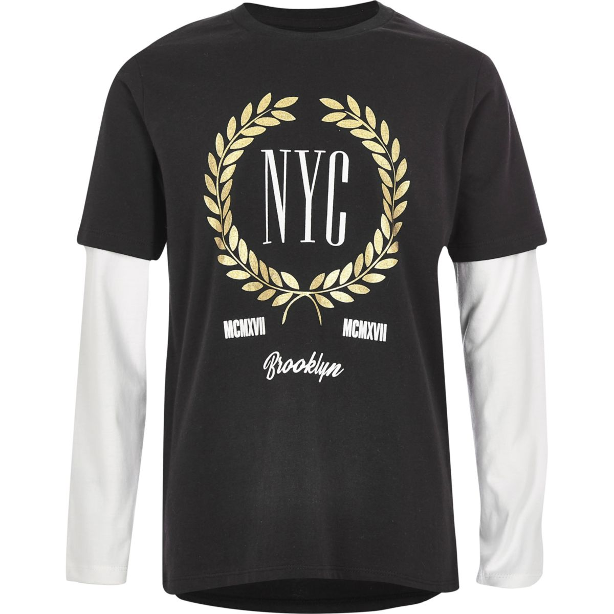 Boys black 'NYC' double sleeve T-shirt