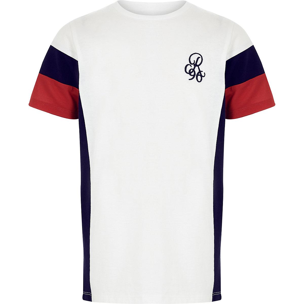 T-shirt blanc à imprimé colour block pour garçon
