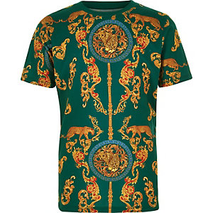 Boys green print short sleeve T-shirt