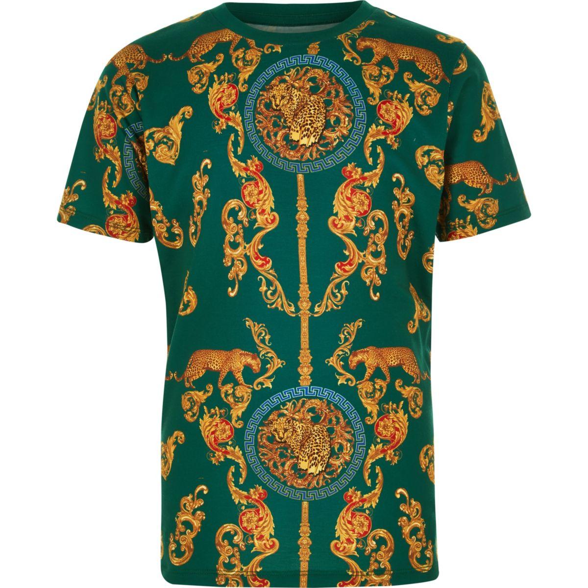 Boys green print short sleeve T-shirt