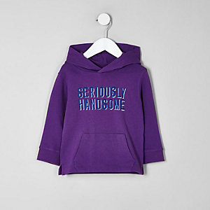 Mini boys purple 'seriously handsome' hoodie