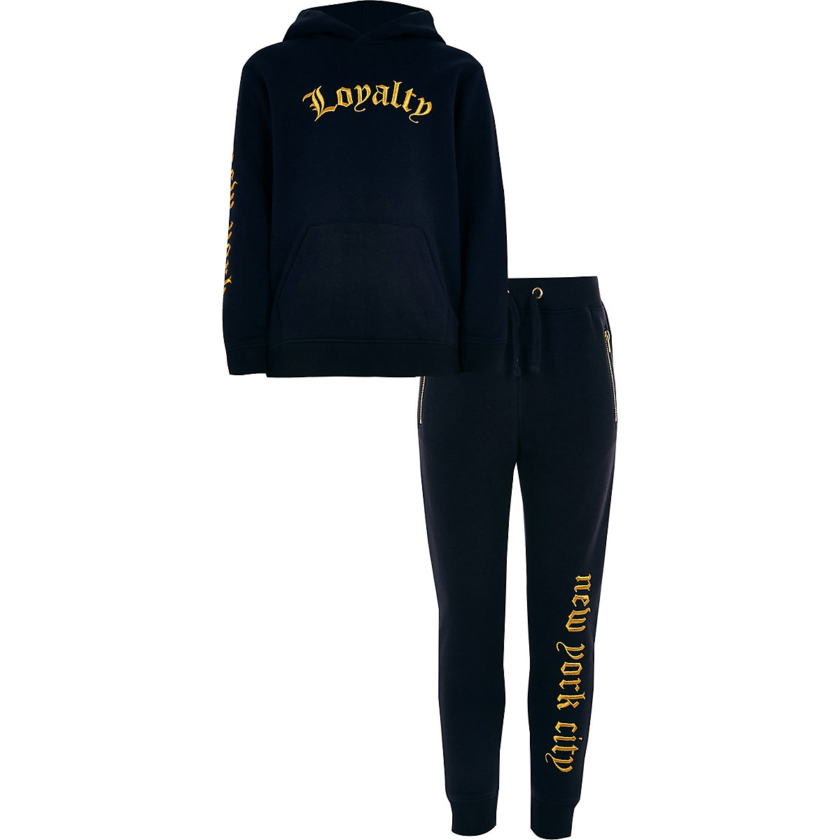 Boys navy 'Loyalty' hoodie outfit