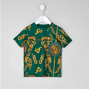Mini boys green print short sleeve T-shirt