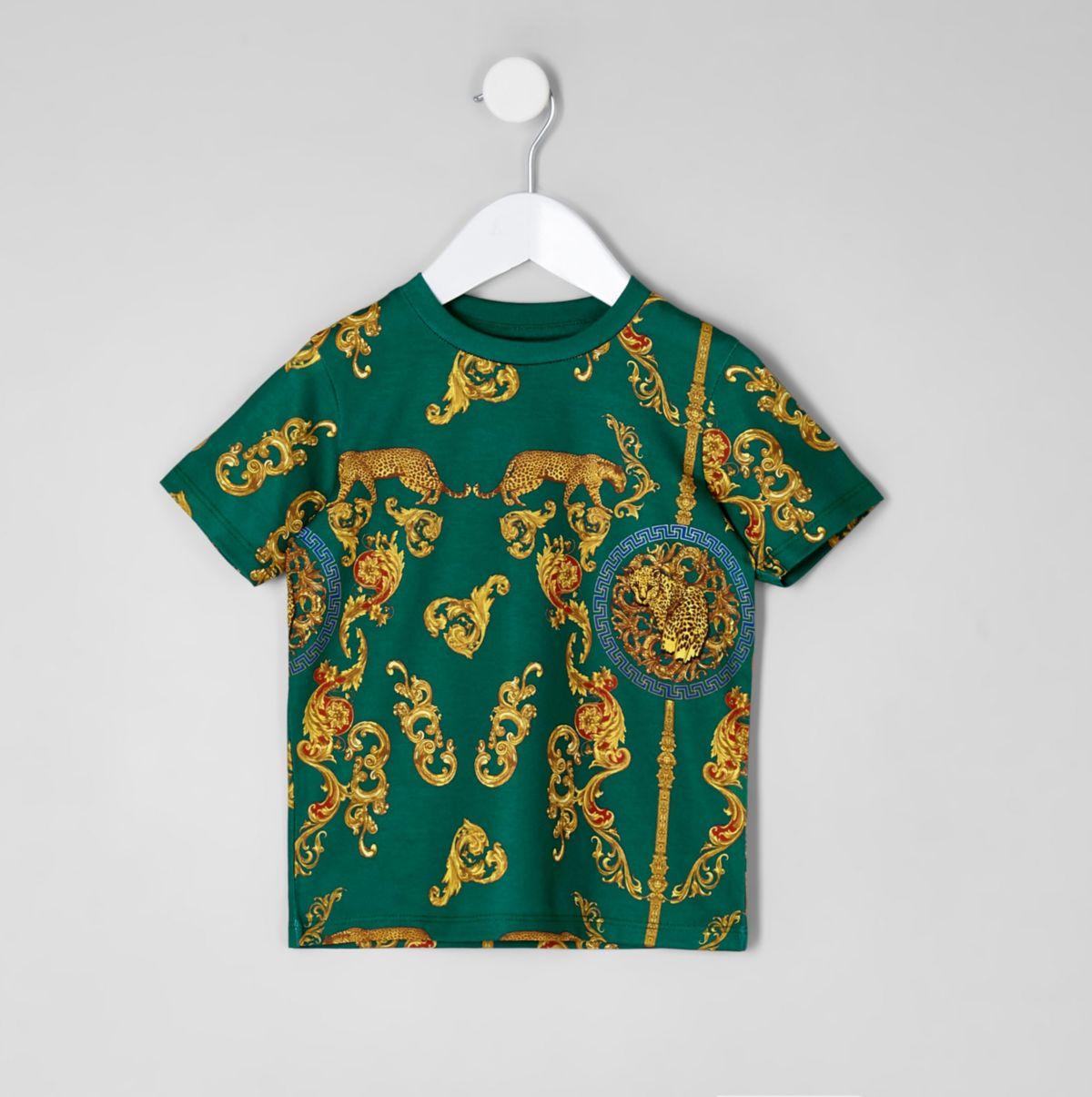 Mini boys green print short sleeve T-shirt