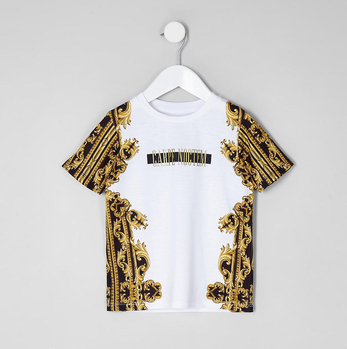 Mini boys 'carpe noctem' print T-shirt