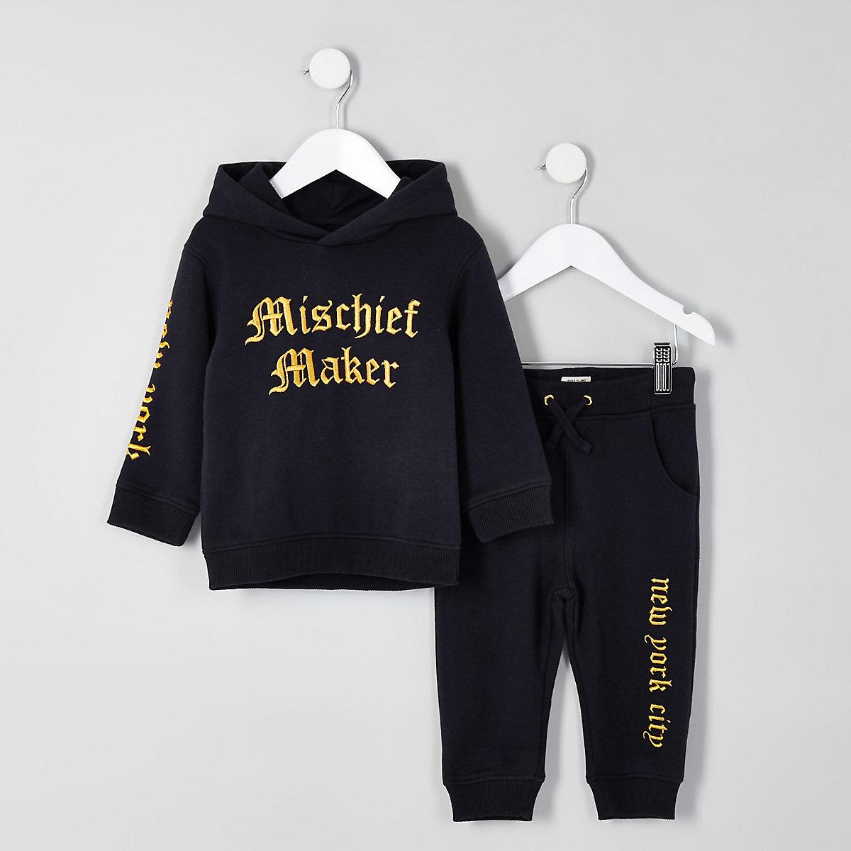 Mini boys navy 'mischief maker' hoodie jogger