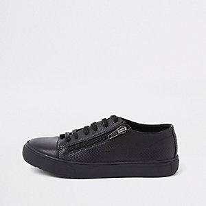 Baskets à semelles noires avec lacets et zip latéral pour garçon