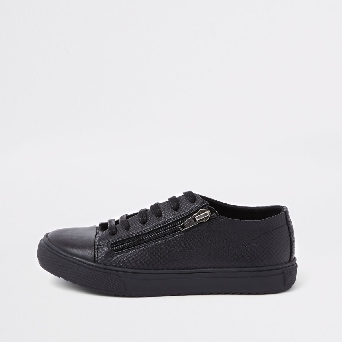 Boys black sole zip side lace-up sneakers