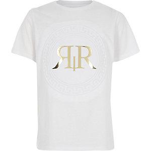 T-shirt blanc à logo RI métallisé en relief garçon