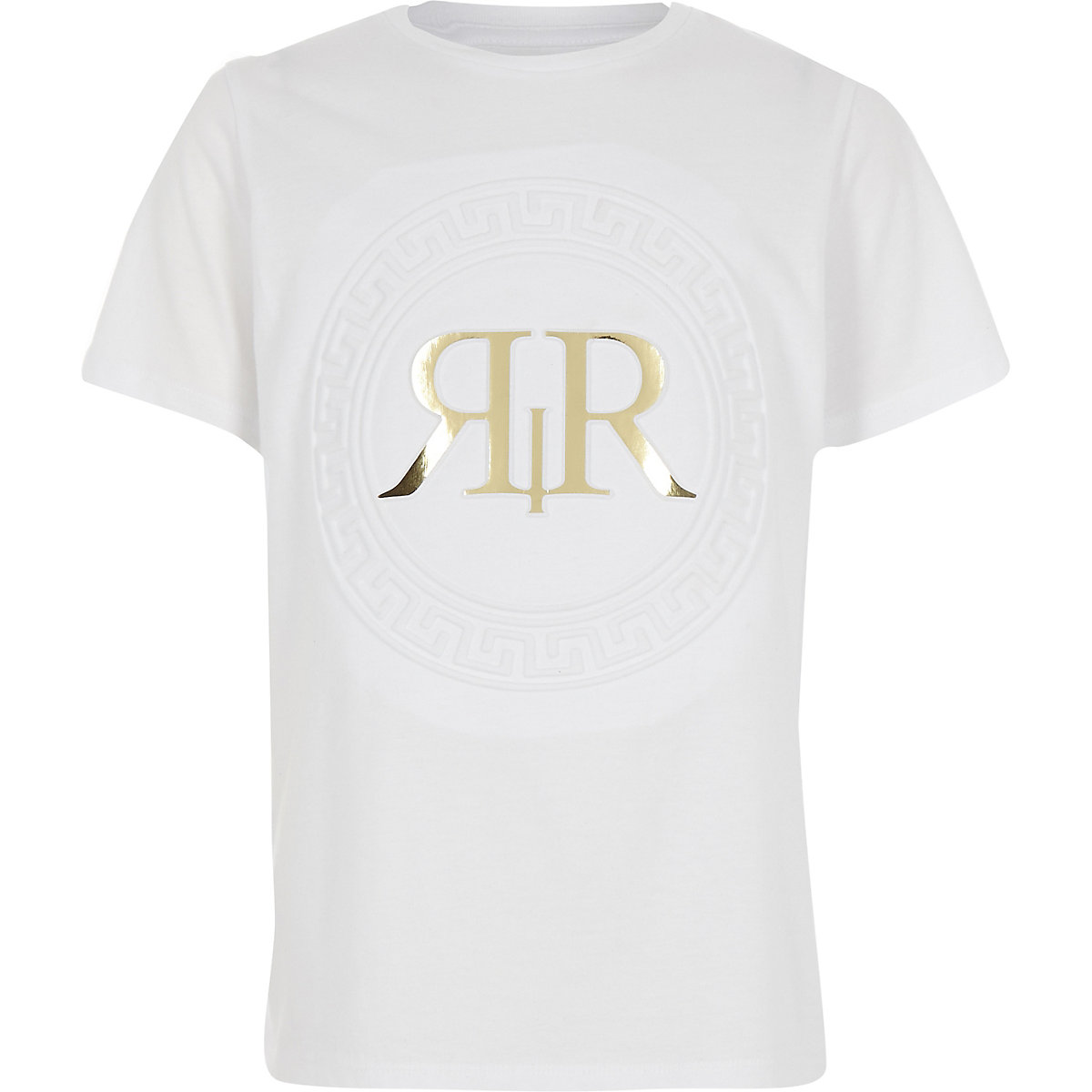 Boys white RI embossed foil print T-shirt