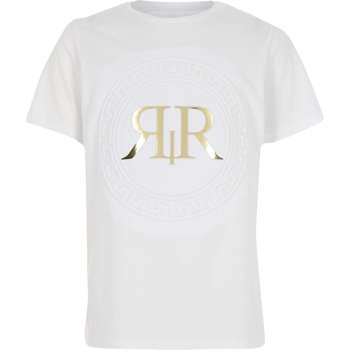 Boys white RI embossed foil print T-shirt