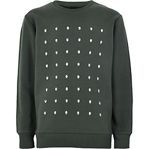Boys khaki green skull studded sweatshirt
