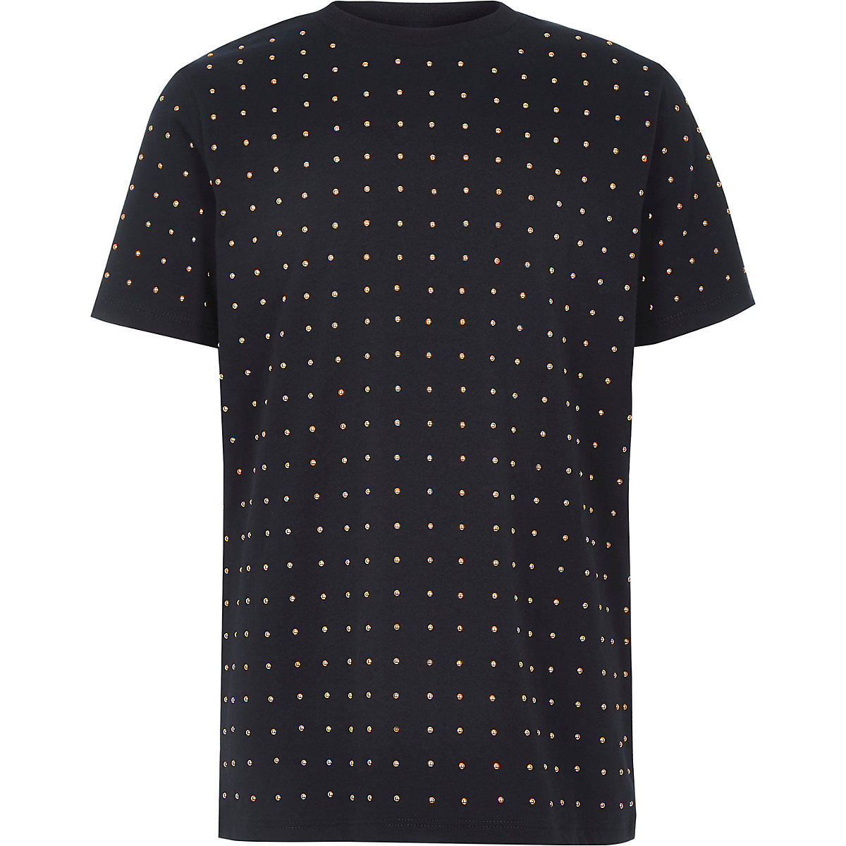Boys navy studded T-shirt