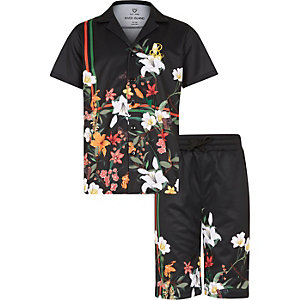 Boys black floral mesh shirt outfit