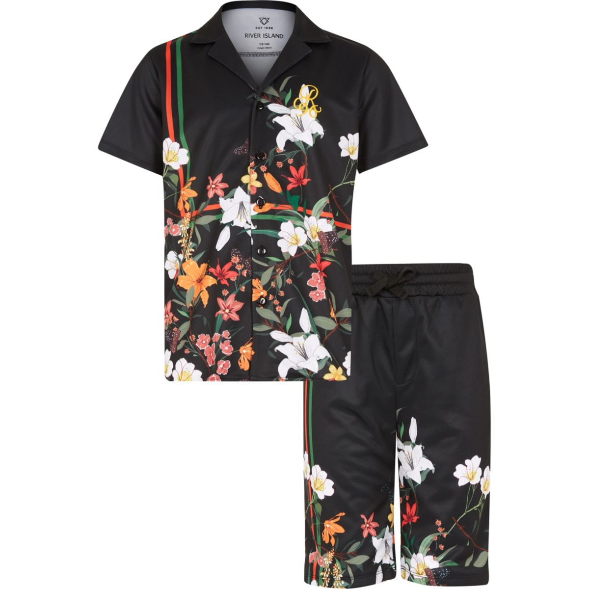 Boys black floral mesh shirt outfit
