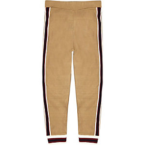 Boys brown knitted striped hem joggers
