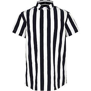 Boys navy stripe poplin stripe shirt