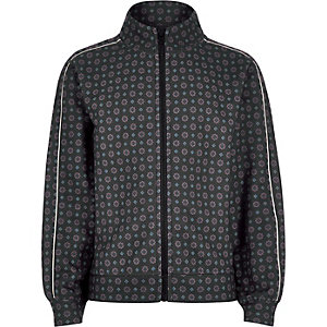 Boys navy tile print piped zip track jacket