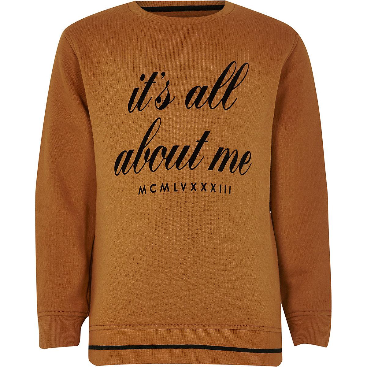 Boys orange 'it's all about me' sweatshirt