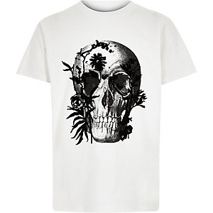 Boys white skull print T-shirt