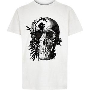 T-shirt imprimé tête de mort blanc pour garçon