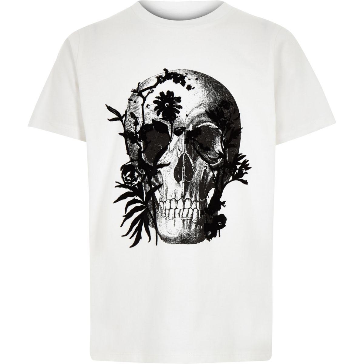 Boys white skull print T-shirt