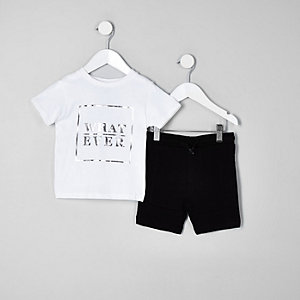 Mini boys white box print T-shirt outfit