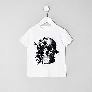 Mini - Wit T-shirt met doodshoofdprint voor jongens