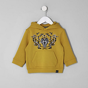 Mini boys yellow baroque print hoodie