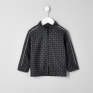 Mini boys navy tile print piped zip jacket