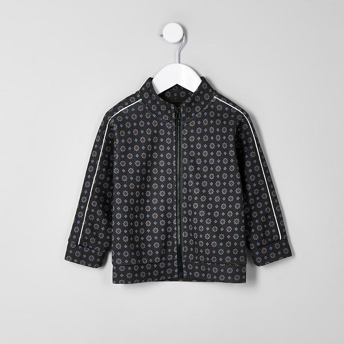 Mini boys navy tile print piped zip jacket
