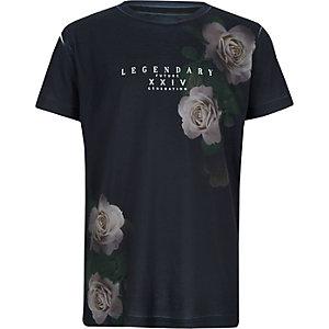 Marineblauw T-shirt met bloemen- en 'legendary'-print voor jongens