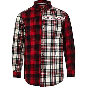Rood geruit overhemd met 'Atelier'-print voor jongens