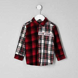 Chemise à carreaux rouge avec inscription « Atelier » mini garçon