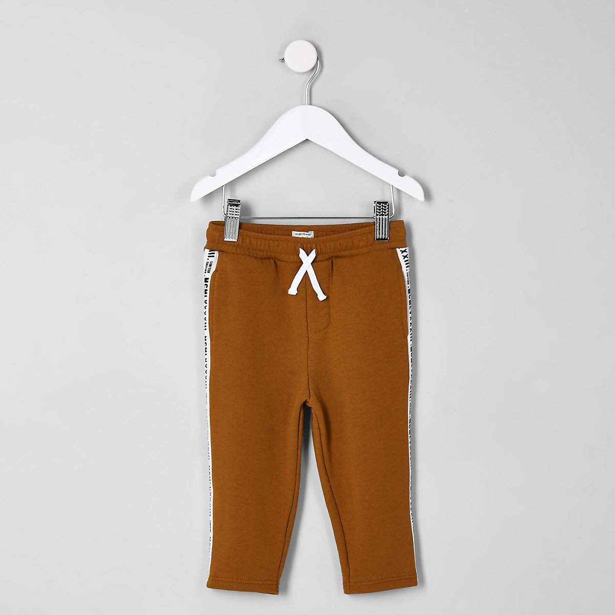 Mini boys orange tape joggers