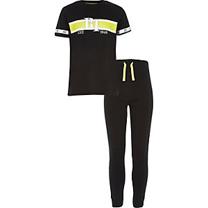 Boys black RI tape pyjama set