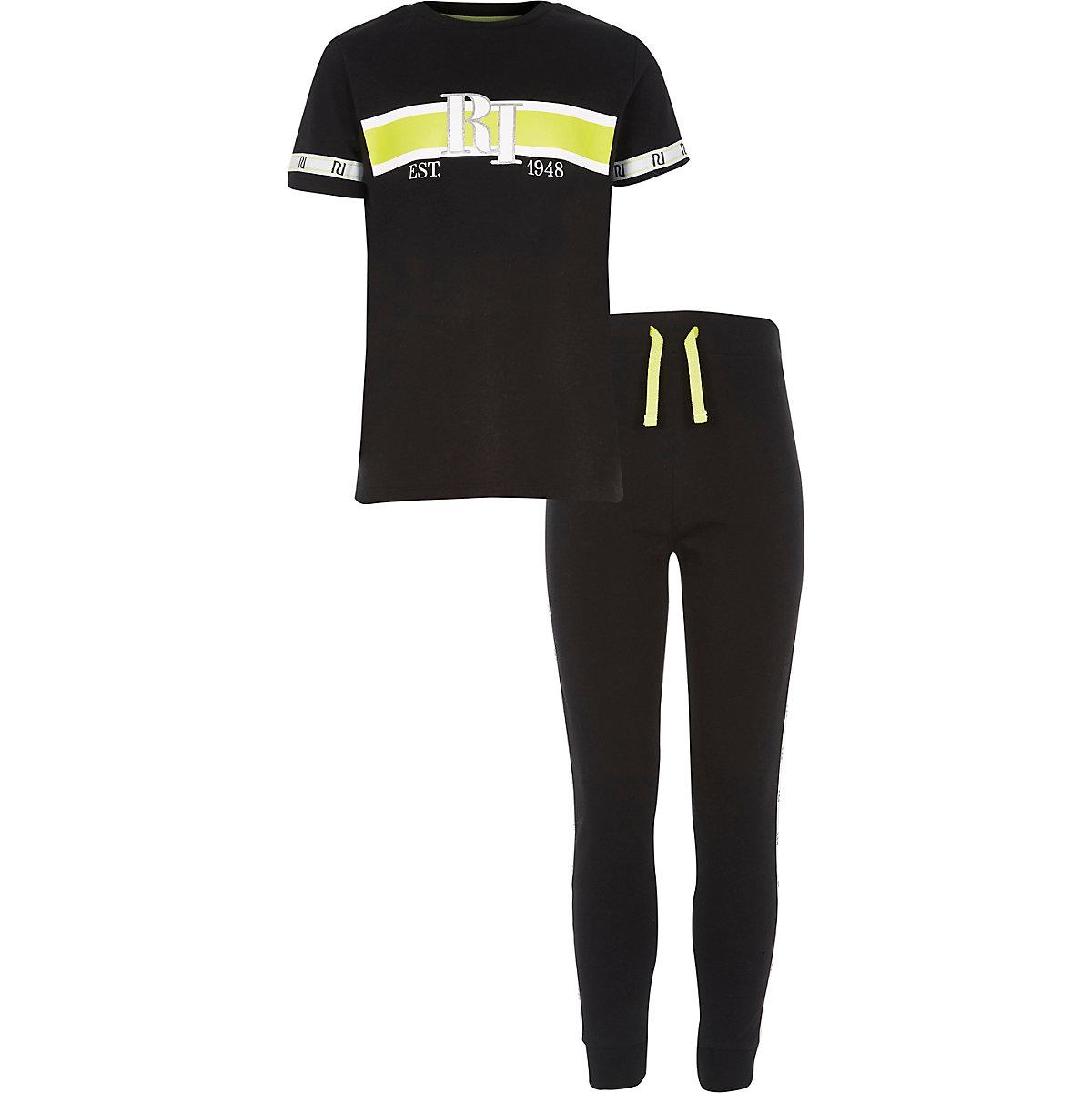 Boys black RI tape pajama set