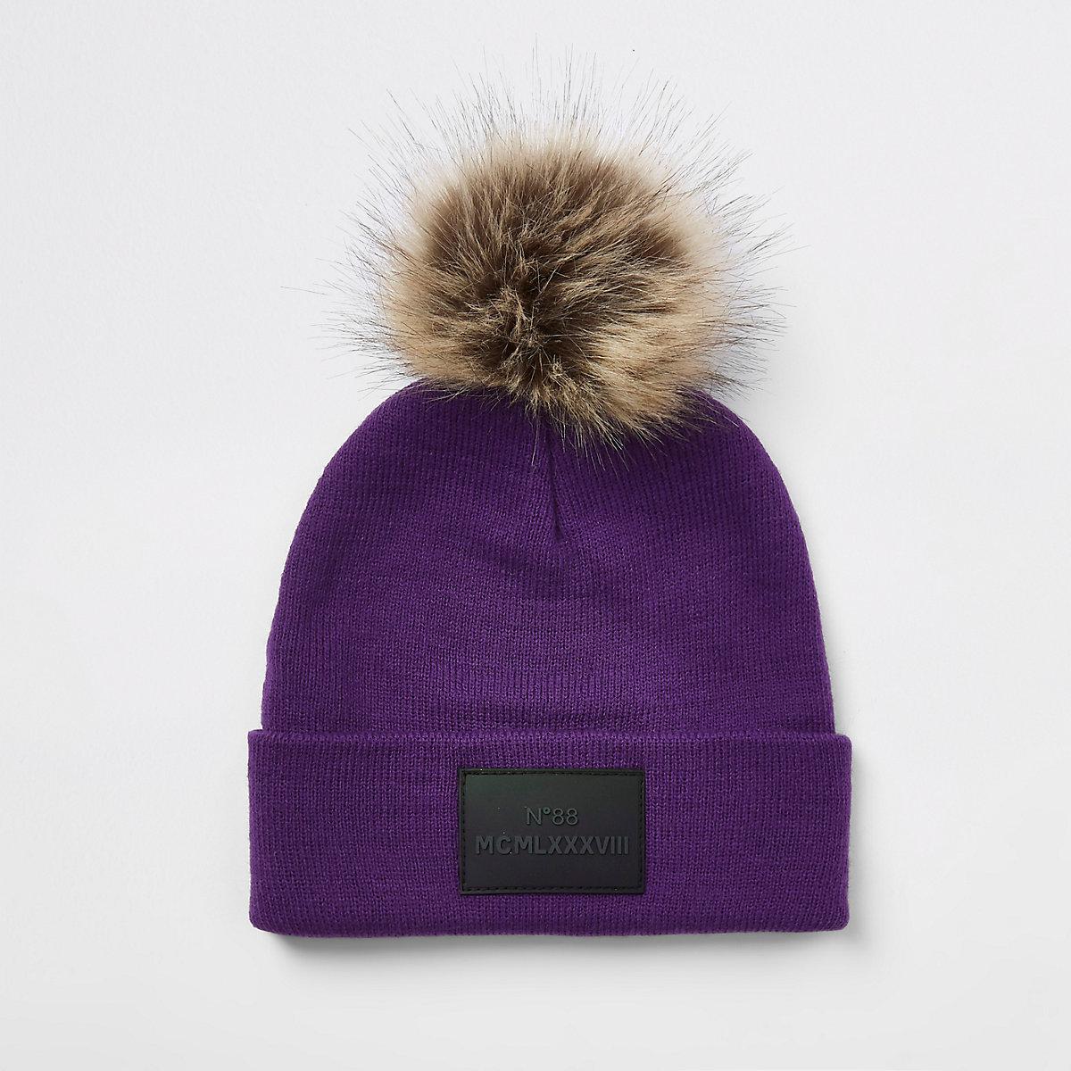 Boys purple faux fur pom pom beanie hat