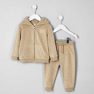 Mini boys ecru velour hoodie and jogger set