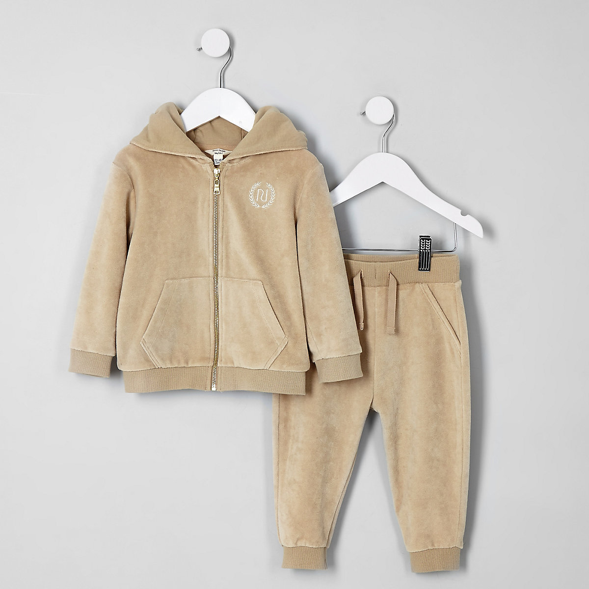 Mini boys ecru velour hoodie and jogger set