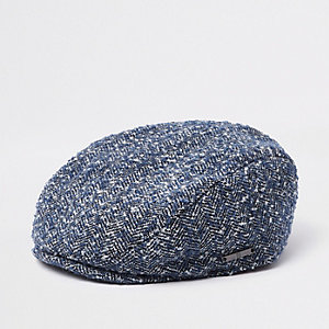 Mini boys blue herringbone flat peak cap