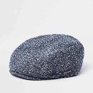 Mini - Blauwe pet met visgraatmotief en platte klep voor jongens