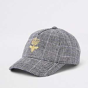 Kids grey check print bee baseball cap
